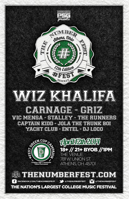 wiz khalifa carnage and griz are performing at 12fest at ohio university